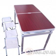 Туристический набор складной стол + 4 стула (усиленный) № С-1