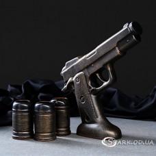 """Керамическая фляга - """"пистолет"""" + 3 рюмки"""
