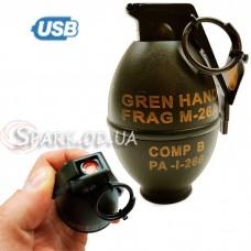 USB зажигалка/граната большая №33321