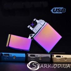 Зажигалка USB импульсная  № 33046 (2 дуги)