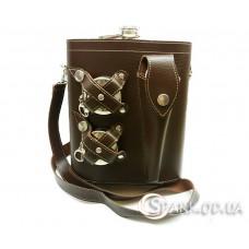 Фляжка-кожа в сумке 48oz/ложка/вилка/2 стакана № YR8-2