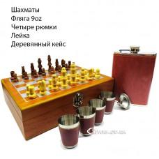 Набор с флягой/шахматы в деревянном кейсе № AN-136